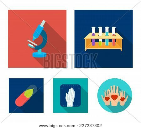 Test Tubes On A Stand, Microscope, X-ray Hands, Bio-pill. Medicine Set Collection Icons In Flat Styl