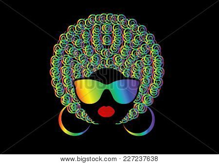 Portrait African Women , Dark Skin Female Face With Colorful Hair Afro And Metal Glasses In Traditio