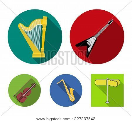 Electric Guitar, Loudspeaker, Harp, Saxophone, Violin.music Instruments Set Collection Icons In Flat