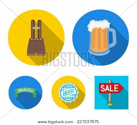Shorts With Suspenders, A Glass Of Beer, A Sign, An Emblem. Oktoberfestset Collection Icons In Flat