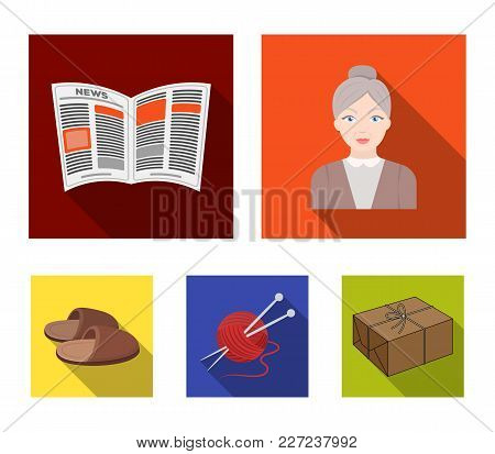 An Elderly Woman, Slippers, A Newspaper, Knitting.old Age Set Collection Icons In Flat Style Vector