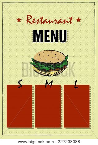 Restaurant Brochure Vector, Menu Design. Vector Cafe Template With Hand-drawn Graphic. Food Flyer.