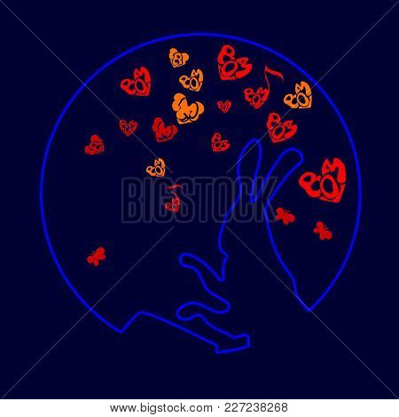 Cute, Funny Animal, Rabbit Is A Hare Pounding The Drum Vector Illustration Of Cartoon Isolated On Wh