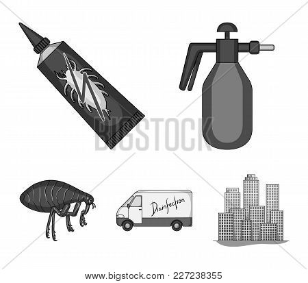 Flea, Special Car And Equipment Monochrome Icons In Set Collection For Design. Pest Control Service