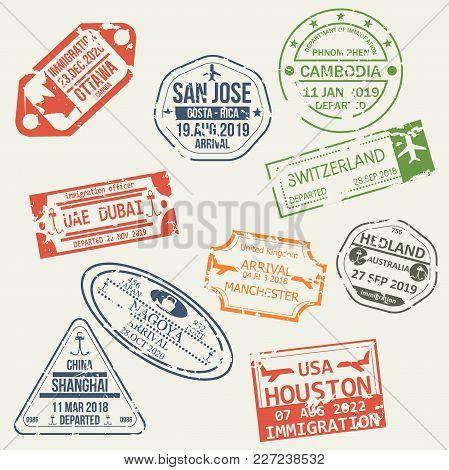 Set Of Isolated Visa Passport Stamps Of Arriving To Ottawa, Costa-rica, Cambodia, Uae, Switzerland,
