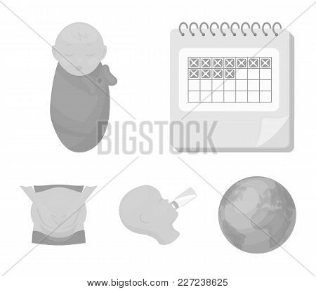 Calendar, Newborn, Stomach Massage, Artificial Feeding. Pregnancy Set Collection Icons In Monochrome