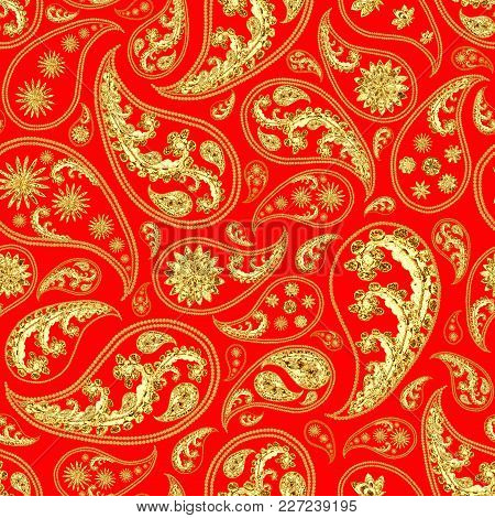 Paisley Gold Red Seamless Pattern. Hand Drawn Golden Traditional Asian Ethnic Oriental Arabic Indian