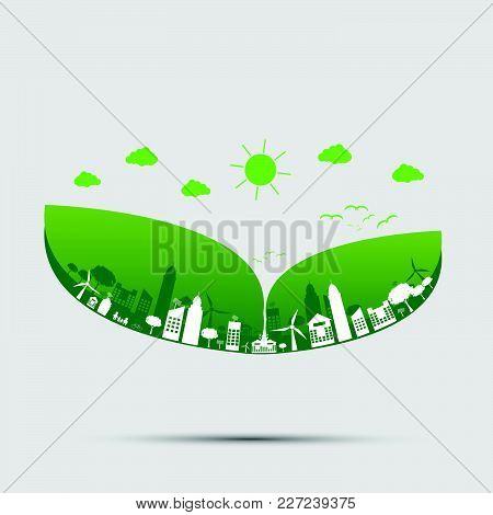 Green Cities Help The World With Cloud With Eco-friendly Concept Ideas.vector Illustration