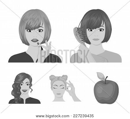 Hairdresser, Cosmetic, Salon, And Other  Icon In Monochrome Style.means, Hygiene, Care Icons In Set