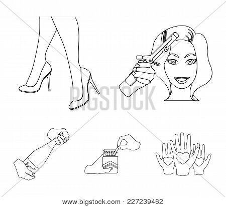 Curling Hair, High Heels And Other  Icon In Outline Style. A Pack Of Cigarettes, A Bottle Of Champag