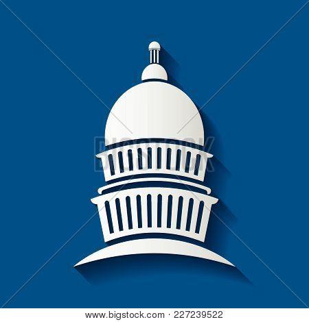 Capitol Congress Meeting Building Icon,vector Illustrator