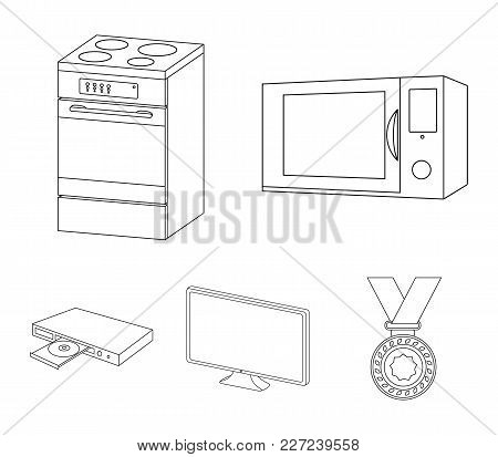 Home Appliances And Equipment Outline Icons In Set Collection For Design.modern Household Appliances
