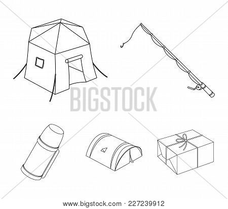 Spinning For Fishing, Tent, Thermos.tent Set Collection Icons In Outline Style Vector Symbol Stock I
