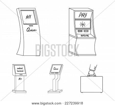 Medical Terminal, Atm For Payment, Apparatus For Queue, . Terminals Set Collection Icons In Outline