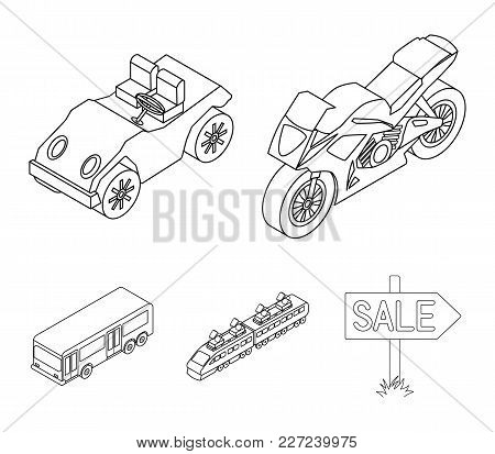 Motorcycle, Golf Cart, Train, Bus. Transport Set Collection Icons In Outline Style Vector Symbol Sto