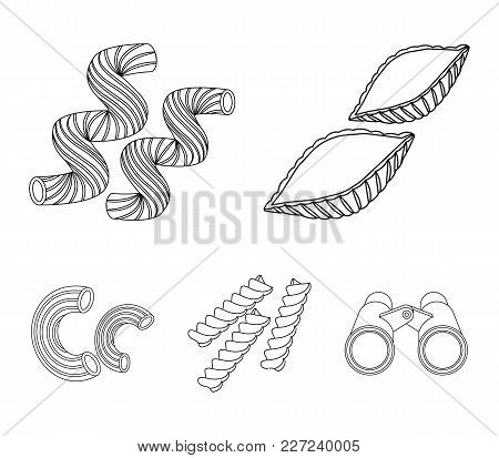 Different Types Of Pasta. Types Of Pasta Set Collection Icons In Outline Style Vector Symbol Stock I