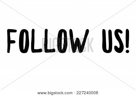 Follow Us Stamp. Typographic Sign, Stamp Or Logo