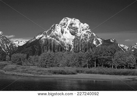 Mount Moran In Front Of Lake Jenny In Grand Teton National Park In Wyoming Usa - Black And White