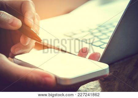 Typing Smartphone Business Man Working With Blank Screen Planning Strategy Analysis Concept