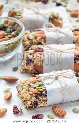 Homemade Granola Energy Bars With Figs, Oatmeal, Almond, Dry Cranberry And Pumpkin Seeds, Healthy Sn
