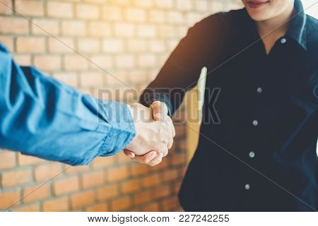Business People Colleagues Shaking Hands Meeting Planning Strategy Analysis Concept