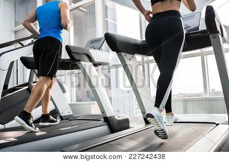 Mid-section Back View Of Two Fit Young People, Man And Woman, Running On Treadmills Facing Windows I