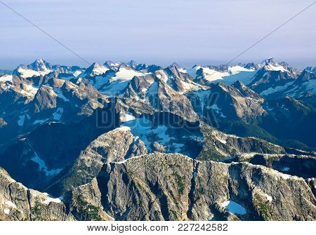 A Panorama Of The Remote And Rugged North Cascades From Luna Peak. Picket Range, North Cascades Nati