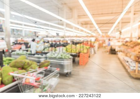 Blurred Fresh Fruits, Vegetable At Asian Grocery Store In America