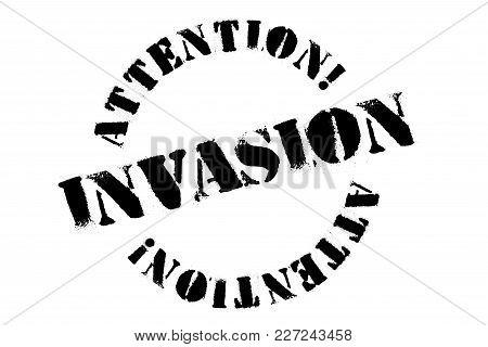 Invasion Typographic Stamp. Typographic Sign, Badge Or Logo
