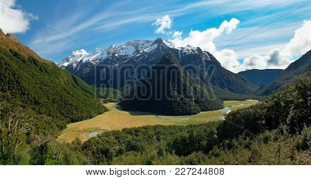 Panorama Of The Southern Alps And Routeburn River Flats.  Routeburn Track, Aspiring National Park, N