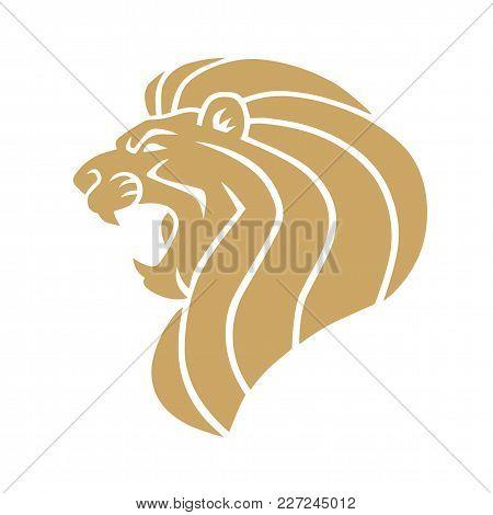 Golden Lion Roaring Royal Logo Design Template Vector Illustration