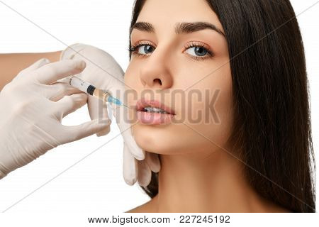 Lips Cosmetology Plastic Surgery Correction Beauty Concept Young Brunette Woman Face And  Doctor Han