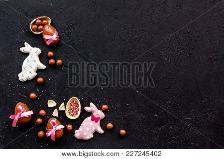 Easter Candy. Traditional Easter Signs And Symbols. Chocolate Easter Eggs And Easter Bunny Cookies.