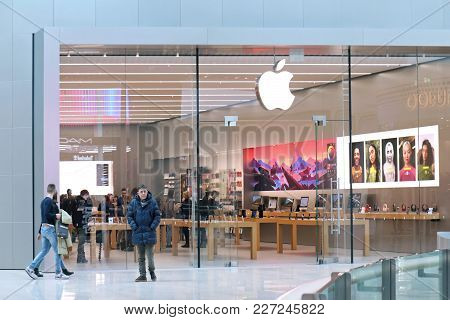 Venice, Italy - February 03, 2018; Apple Retail Store Selling Products In Sleekly Designed Space Ins