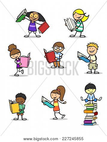 Many different children read book as a set with a stack of books
