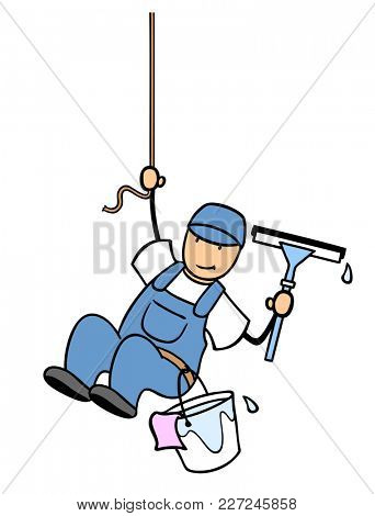 Cartoon window cleaner from cleaning service hangs on a rope