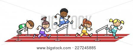 Group of cartoon kids hurdling in physical education at school