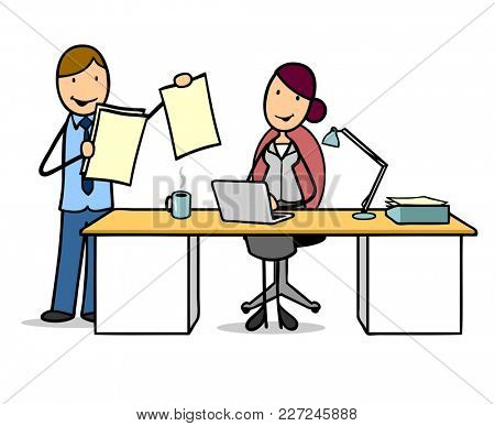Businessman at a job interview in the office at the desk