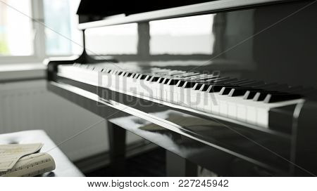 Keys from the piano before piano lessons at home (3D Rendering)