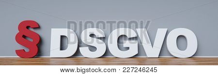 DSGVO Basic Data Protection Regulation Concept with paragraph on wall (3D Rendering)