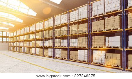 Bright warehouse or storage with many boxes on the shelves (3D Rendering)