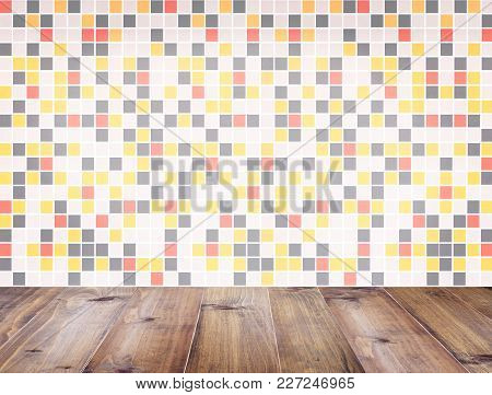 Wooden Table Top Over Colorful Geometric Square Marble Stone Mosaic Wall Background  Pattern For Mod