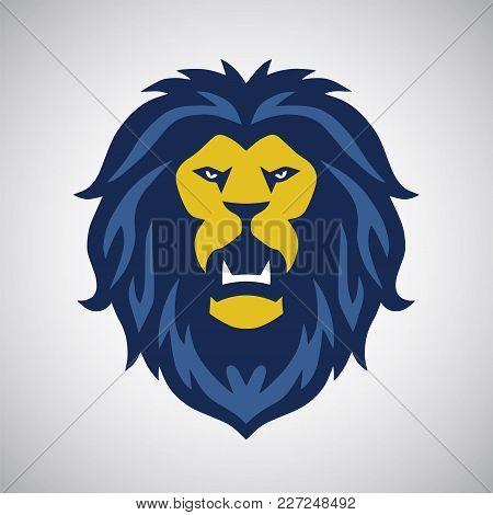 Lion Head Roaring Vector Illustration Flat Design