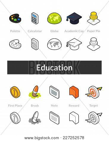 Set Of Isometric Icons In Otline Style, Colored And Black Versions, Vector Symbols - Education Colle