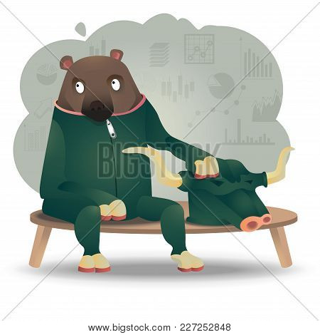 Character Design Of Bull And Bear, Concept Of Financing Metaphor Presented In Cartoon Style