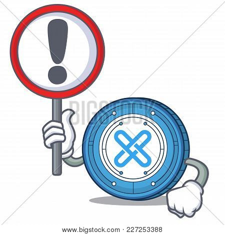 With Sign Gxshares Coin Character Cartoon Vector Illustration
