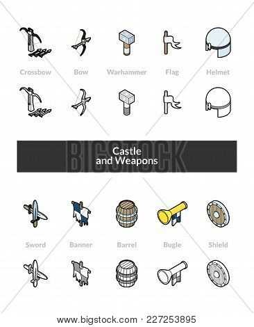 Set Of Isometric Icons In Otline Style, Colored And Black Versions, Vector Symbols - Castle And Weap