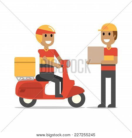 Happy Delivery Man On Duty. Simple Flat Vector.