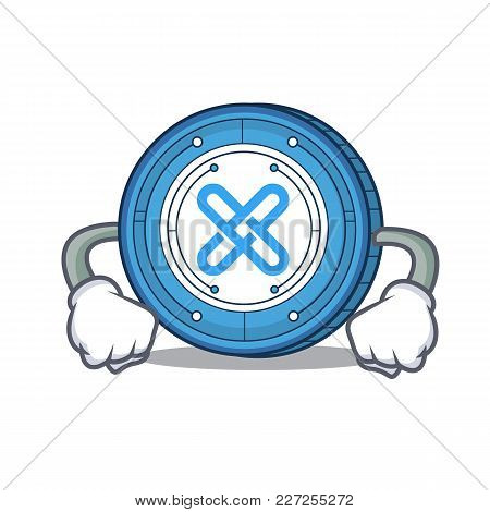 Angry Gxshares Coin Mascot Cartoon Vector Illustration