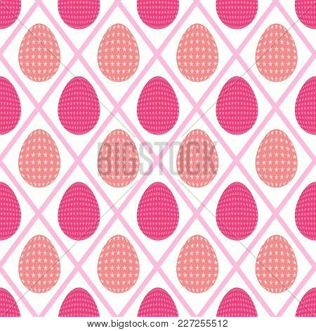 Seamless Pattern Of Starry Eggs Enclosed In A Diamond Shaped Background With Sharp And Peach Pink Sh